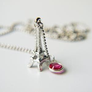 Eiffel Tower Silver Necklace Swarov..