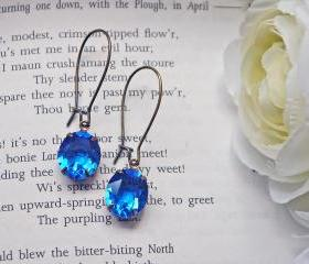 Sapphire Blue Vintage Swarovski Crystal Earrings. Antique Brass Kindney Ear Wires.