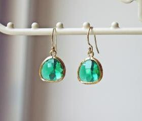 Gold Emerald Green Glass Earrings. 14K Gold Filled Earrings. Modern Dainty Feminine Sparkle
