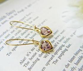 Vintage Heart Swarovski Crystal Charm Earrings. Amethyst Purple. Dainty. Romantic